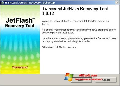 Ekraanipilt JetFlash Recovery Tool Windows 7