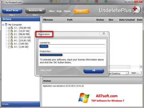Ekraanipilt Undelete Plus Windows 7