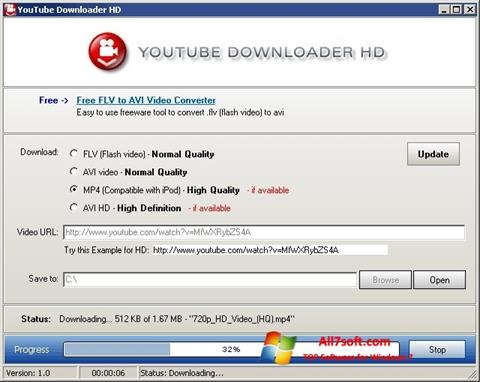Ekraanipilt Youtube Downloader HD Windows 7