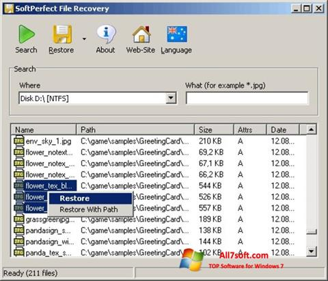 Ekraanipilt SoftPerfect File Recovery Windows 7