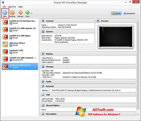 Ekraanipilt VirtualBox Windows 7