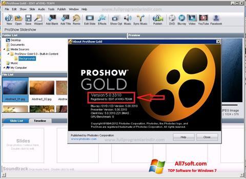 Ekraanipilt ProShow Gold Windows 7