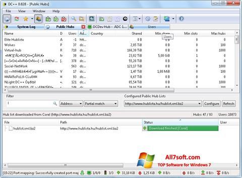 Ekraanipilt DC++ Windows 7