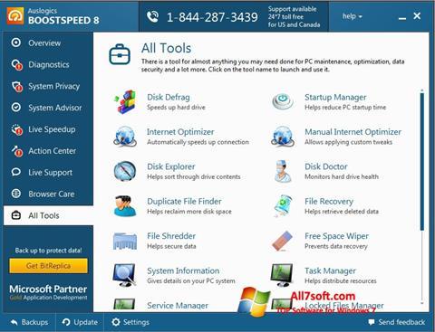 Ekraanipilt Auslogics BoostSpeed Windows 7
