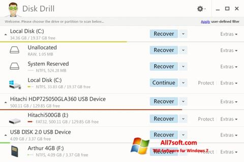 Ekraanipilt Disk Drill Windows 7