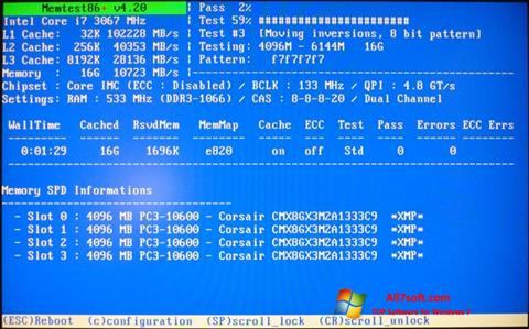 Ekraanipilt MemTest Windows 7