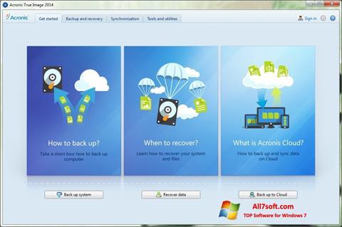 Ekraanipilt Acronis True Image Windows 7