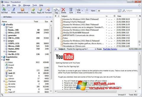 Ekraanipilt Mozilla Thunderbird Windows 7