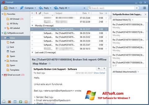 Ekraanipilt FoxMail Windows 7