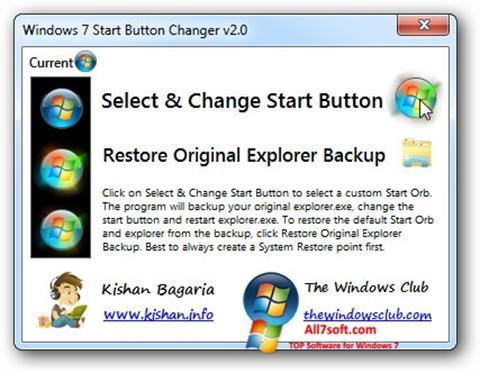 Ekraanipilt Windows 7 Start Button Changer Windows 7